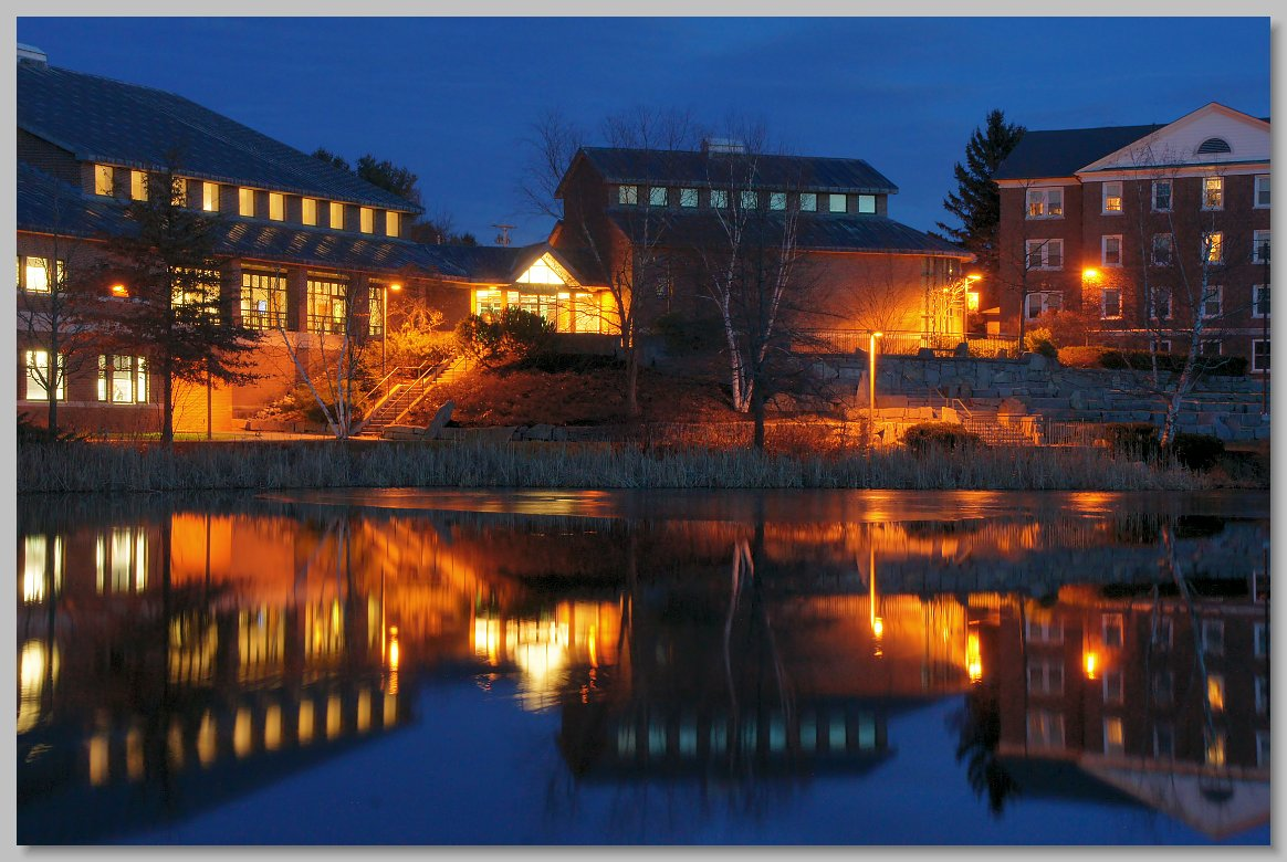 Atrs Center reflected in Lake Andrews  Bates College  Lewiston  MaineBates College Campus Winter