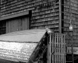 boat-against wooden-barn_B-W 01003