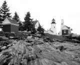 Pemaquid-Lighthouse-and-rocks_B-W 02016