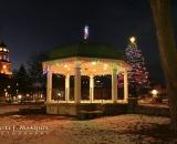 Kennedy Park gazebo and City Hall at Christmas