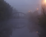 Wiseman Bridge in early morning fog