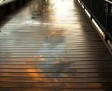 Footbridge to Simard-Payne Park after a rain