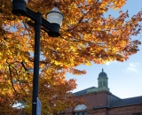 Lewiston city hall under fall foliage