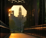 Sunrise on the foot trestle with Lewiston City Hall