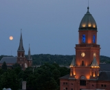 Lewiston City Hall and St. Patrick's Church with full moon
