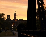 Lewiston City Hall tower at sunrise from the foot trestle