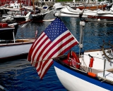 American-flag-and-sailboats-in-Camden-Harbor_P1080397