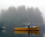 yellow-fishing-boat-at-anchor-in-fog-Cutler-Harbor_DSC07764