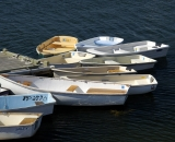 Dinghies tied at the dock