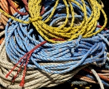 Pile of colorful fisherman's ropes