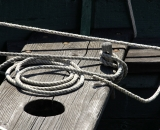 Rope coiled on dinghy seat