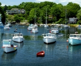 Lobster boats and kayakers in Perkins Cove