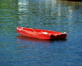 Red dinghy in Perkins Cove