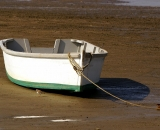 skiff-tied-on-beach-with-shore-bird-at-Pine-Point_DSC02013