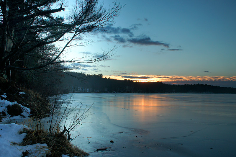 Winter morning sunrise on the Androscoggin River