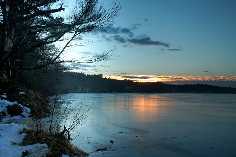 Winter morning sunrise on the Androscoggin River