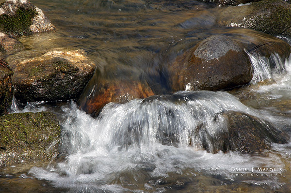 Water coursing over the rocks in Bobbin Mill Brook