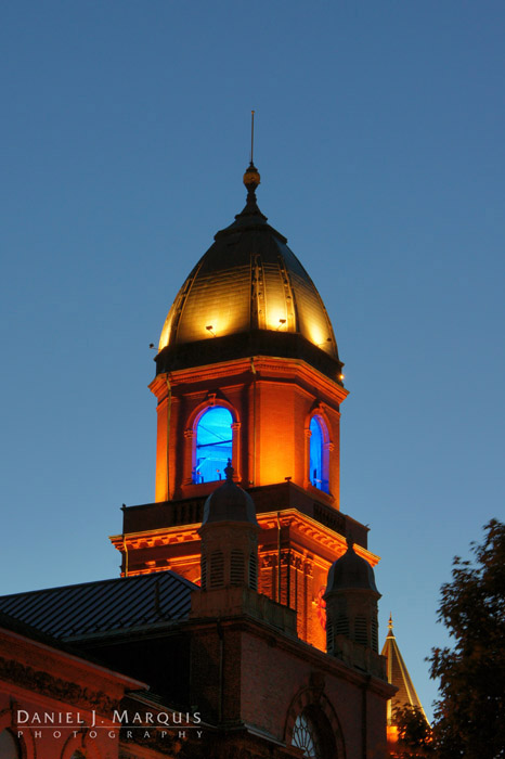 Lewiston City Hall tower at dusk