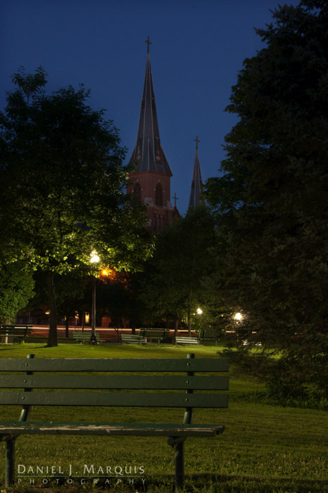 St. Patrick's Steeples at dusk as seen from Kennedy Park