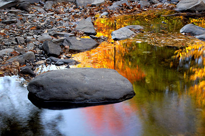 Colorful fall colors reflected in autumn stream